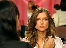 NEW YORK, NY - NOVEMBER 13:  Model Kasia Struss  prepare at the 2013 Victoria's Secret Fashion Show Royalty Free Stock Photo