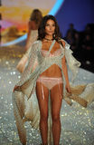 NEW YORK, NY - NOVEMBER 13: Model Lily Aldridge walks the runway at the 2013 Victoria's Secret Fashion Show Stock Images