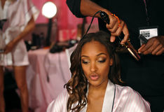 NEW YORK, NY - NOVEMBER 13: Model Maria Borges  prepares at the 2013 Victoria's Secret Fashion Show Royalty Free Stock Photo