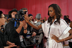 NEW YORK, NY - NOVEMBER 13: Model Maria Borges  prepares at the 2013 Victoria's Secret Fashion Show Stock Photos