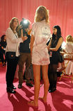NEW YORK, NY - NOVEMBER 13: Model Toni Garrn giving away interviews backstage at the 2013 Victoria's Secret Fashion Show Royalty Free Stock Photo