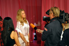NEW YORK, NY - NOVEMBER 13: Model Toni Garrn giving away interviews backstage at the 2013 Victoria's Secret Fashion Show Stock Photos