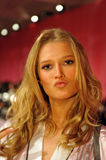 NEW YORK, NY - NOVEMBER 13: Model Toni Garrn poses backstage at the 2013 Victoria's Secret Fashion Show Royalty Free Stock Image