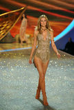 NEW YORK, NY - NOVEMBER 13: Model Toni Garrn walks the runway at the 2013 Victoria's Secret Fashion Show Stock Images