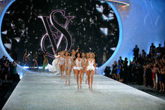 NEW YORK, NY - NOVEMBER 13: Models walk the runway finale at the 2013 Victoria's Secret Fashion Show Stock Image