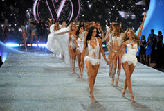 NEW YORK, NY - NOVEMBER 13: Models walk the runway finale at the 2013 Victoria's Secret Fashion Show Stock Images