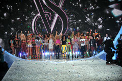 NEW YORK, NY - NOVEMBER 13: Models walk the runway finale at the 2013 Victoria's Secret Fashion Show Stock Photos