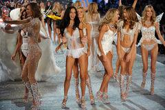 NEW YORK, NY - NOVEMBER 13: Models walk the runway finale at the 2013 Victoria's Secret Fashion Show Stock Photography