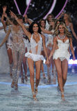 NEW YORK, NY - NOVEMBER 13: Models walk the runway finale at the 2013 Victoria's Secret Fashion Show Stock Photo