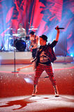 NEW YORK, NY - NOVEMBER 13: Musician Patrick Stump of the band Fall Out Boy performs at the 2013 Victoria's Secret Fashion Show stock images