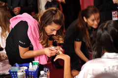 NEW YORK, NY - NOVEMBER 13:A nails preparation process at the 2013 Victoria's Secret Fashion Show Royalty Free Stock Image