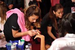 NEW YORK, NY - NOVEMBER 13:A nails preparation process at the 2013 Victoria's Secret Fashion Show Royalty Free Stock Image