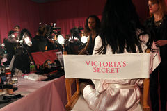 NEW YORK, NY - NOVEMBER 13: A view of atmosphere and make-up chair backstage at the 2013 Victoria's Secret Fashion Show Stock Image