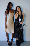 NEW YORK, NY - OCTOBER 25: Designer Laura Mehlinger (R) and  model poses backstage during Lola Haze Spring 2015 lingerie Royalty Free Stock Photos