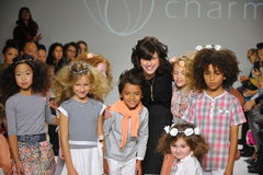 NEW YORK, NY - OCTOBER 19: Designer Rany Mendlovic walks the runway with models during the Charm preview Stock Image