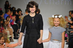 NEW YORK, NY - OCTOBER 19: Designer Rany Mendlovic walks the runway with models during the Charm preview Stock Photography