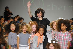 NEW YORK, NY - OCTOBER 19: Designer Rany Mendlovic walks the runway with models during the Charm preview Royalty Free Stock Photo