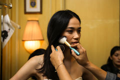NEW YORK, NY - OCTOBER 09: A model getting ready backstage during Oleg Cassini Fall 2015 Bridal collection Royalty Free Stock Image