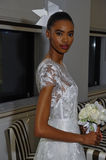 NEW YORK, NY - OCTOBER 13: Model makes informal modeling at the Carolina Herrera Bridal Presentation Royalty Free Stock Images