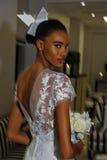 NEW YORK, NY - OCTOBER 13: Model makes informal modeling at the Carolina Herrera Bridal Presentation Royalty Free Stock Images