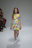 NEW YORK, NY - OCTOBER 19: A model walks the runway during the Aria Children's Clothing preview at petitePARADE Kids Fashion Week Royalty Free Stock Photos
