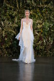 NEW YORK, NY - OCTOBER 10: A model walks the runway during the Claire Pettibone Fall 2015 Bridal Collection Show Royalty Free Stock Photo