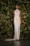 NEW YORK, NY - OCTOBER 10: A model walks the runway during the Claire Pettibone Fall 2015 Bridal Collection Show Royalty Free Stock Image