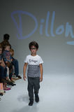 NEW YORK, NY - OCTOBER 19: A model walks the runway during the Dillonger Clothing preview stock image