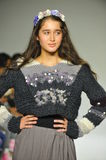 NEW YORK, NY - OCTOBER 18: A model walks the runway during the Parsons preview at petite PARADE Kids Fashion Week Stock Photo