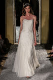 NEW YORK, NY - OCTOBER 09: A model walks the runway wearing Oleg Cassini Fall 2015 Bridal collection Stock Images