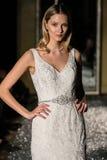 NEW YORK, NY - OCTOBER 09: A model walks the runway wearing Oleg Cassini Fall 2015 Bridal collection Stock Image