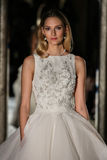 NEW YORK, NY - OCTOBER 09: A model walks the runway wearing Oleg Cassini Fall 2015 Bridal collection Stock Photo