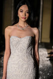 NEW YORK, NY - OCTOBER 09: A model walks the runway wearing Oleg Cassini Fall 2015 Bridal collection Royalty Free Stock Photo