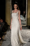NEW YORK, NY - OCTOBER 09: A model walks the runway wearing Oleg Cassini Fall 2015 Bridal collection Royalty Free Stock Image