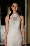 NEW YORK, NY - OCTOBER 09: A model walks the runway wearing Oleg Cassini Fall 2015 Bridal collection. At the Plaza Athenee on October 09, 2014 in New York City royalty free stock photography