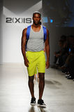NEW YORK, NY - OCTOBER 21: A model walks the runway during 2(X)IST Men's fashion show Stock Images