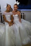 NEW YORK, NY - OCTOBER 13: Models make informal modeling at the Carolina Herrera Bridal Presentation Royalty Free Stock Image