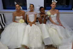 NEW YORK, NY - OCTOBER 13: Models make informal modeling at the Carolina Herrera Bridal Presentation Stock Images