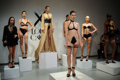 NEW YORK, NY - OCTOBER 25: Models pose sexy during Love Cage Spring 2015 lingerie presentation Stock Images