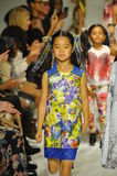 NEW YORK, NY - OCTOBER 18: Models walk the runway finale during the Alivia Simone preview at petite PARADE Kids Fashion Week Royalty Free Stock Photos