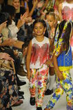 NEW YORK, NY - OCTOBER 18: Models walk the runway finale during the Alivia Simone preview at petite PARADE Kids Fashion Week Stock Image