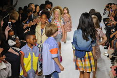 NEW YORK, NY - OCTOBER 18: Models walk the runway finale  during the Anasai preview at petitePARADE Kids Fashion Week Royalty Free Stock Photography