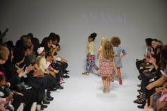 NEW YORK, NY - OCTOBER 18: Models walk the runway finale  during the Anasai preview at petitePARADE Kids Fashion Week Stock Image