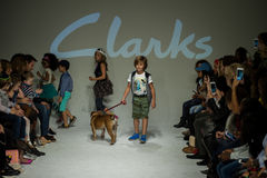 NEW YORK, NY - OCTOBER 19: Models walk the runway finale during the Clarks preview Royalty Free Stock Image