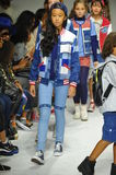 NEW YORK, NY - OCTOBER 18: Models walk the runway finale during the Parsons preview at petite PARADE Kids Fashion Week Stock Photography