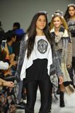 NEW YORK, NY - OCTOBER 18: Models walk the runway finale during the Parsons preview at petite PARADE Kids Fashion Week Royalty Free Stock Photo