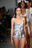 NEW YORK, NY - OCTOBER 25: Models walk runway at Finale Runway Show during Lingerie Fashion week closing benefit Stock Photography