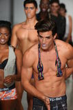 NEW YORK, NY - OCTOBER 25: Models walk runway during Play Out Spring 2015 underwear collection Stock Photography