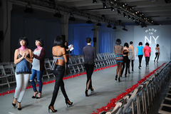 NEW YORK, NY - OCTOBER 25: Models walk runway rehearsal during Made in the USA Spring 2015 lingerie showcase preparations Stock Photos