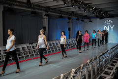 NEW YORK, NY - OCTOBER 25: Models walk runway rehearsal during Made in the USA Spring 2015 lingerie showcase preparations Royalty Free Stock Photography